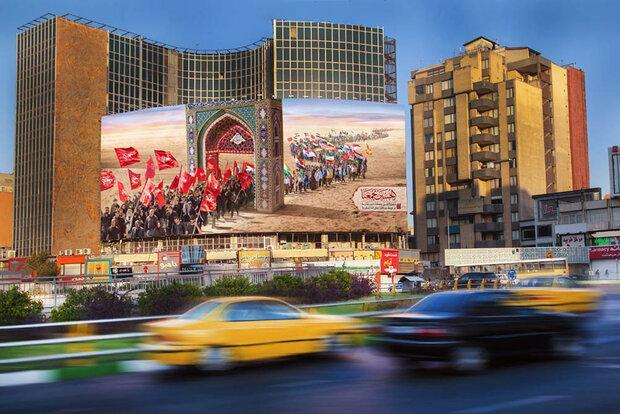 دیوارنگاره میدان ولیعصر (عج) رنگ و بوی اربعین حسینی گرفت