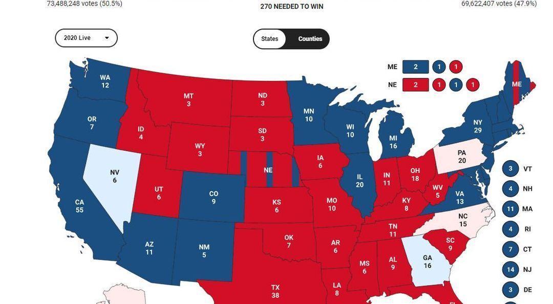 آخرین نتایج آرا در ایالت های سرنوشت ساز آمریکا