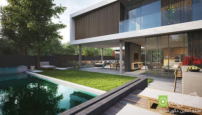 معماری مدرن ویلا با حیاط سرسبز و عظیم و حریم خصوصی مناسب